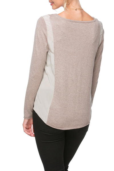 Side Panel V-Neck Sweater | mixed media