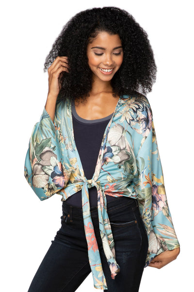 Bed to Brunch Tie Wrap Long Top in Tropical Escape