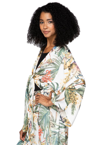 Bed to Brunch Tie Wrap Long Top in Tropical Escape - Subtle Luxury
