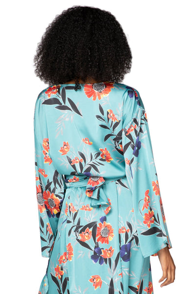 Bed to Brunch Tie Wrap Long Top in Summer Bloom - Subtle Luxury