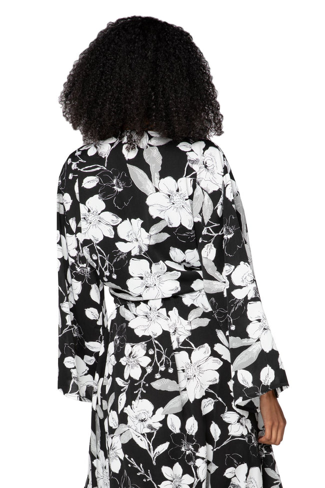 Bed to Brunch Tie Wrap Long Top in Shadowed Petals