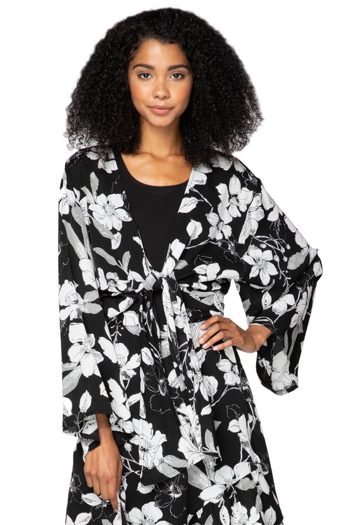 Bed to Brunch Tie Wrap Long Top in Shadowed Petals - Subtle Luxury