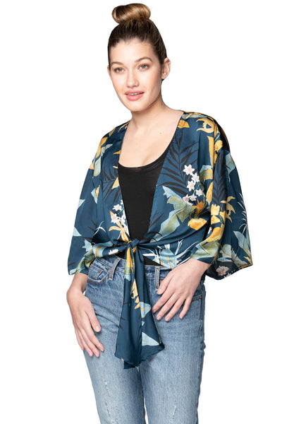Bed to Brunch Tie Wrap Top in Tropical Garden - Subtle Luxury