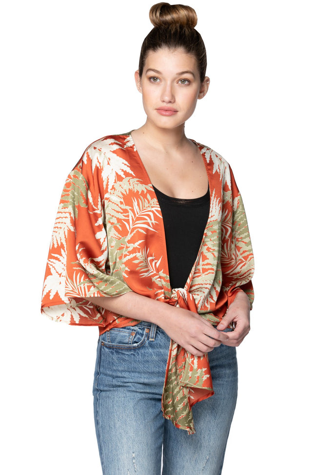 Bed to Brunch Tie Wrap Top in Bold Ferns - Subtle Luxury