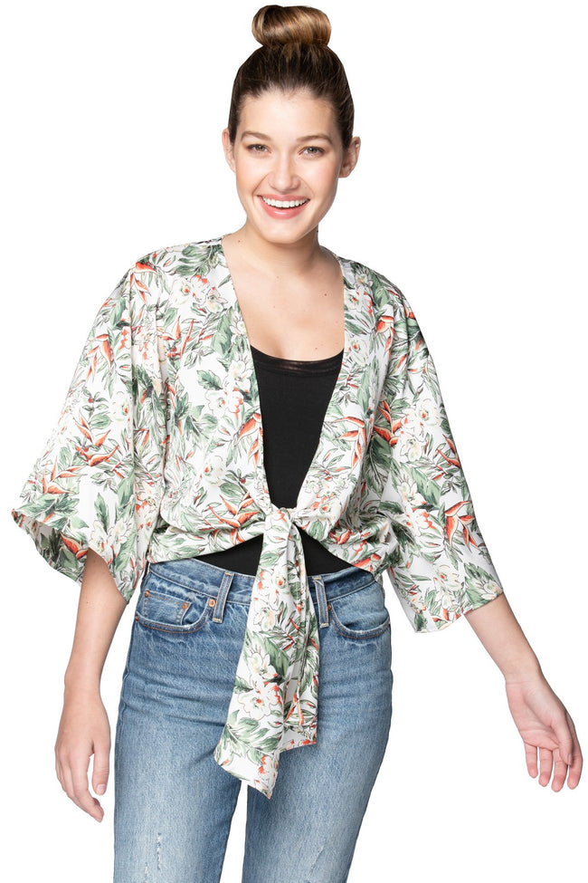 Bed to Brunch Tie Wrap Top in Blooming Paradise - Subtle Luxury