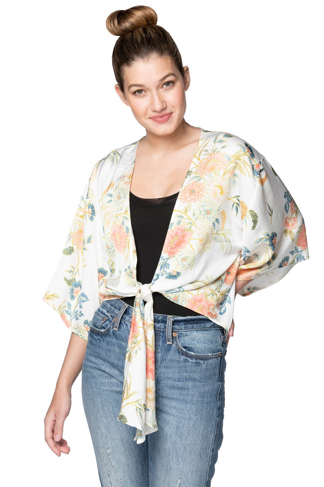 Bed to Brunch Tie Wrap Top in Soft Bouquet - Subtle Luxury