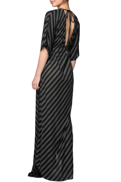 Tie Back Maxi Dress in Black/Grey - Subtle Luxury