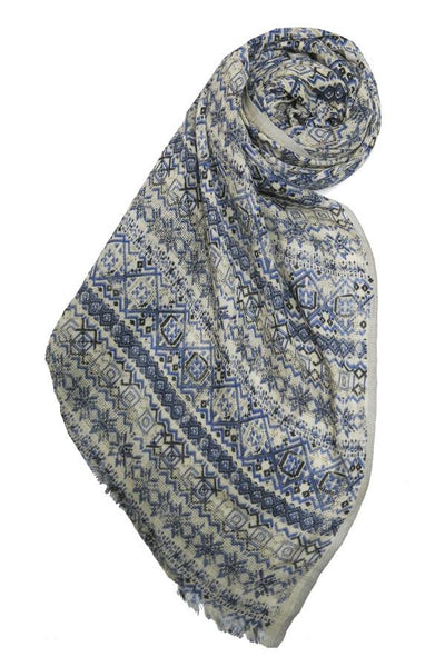 Rosewater Printed Scarf in Blue