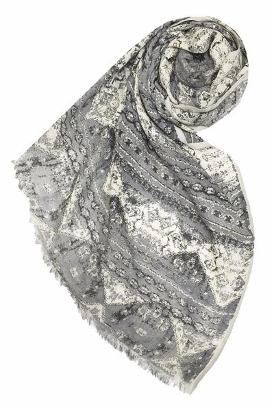World Traveler Printed Scarf in Grey