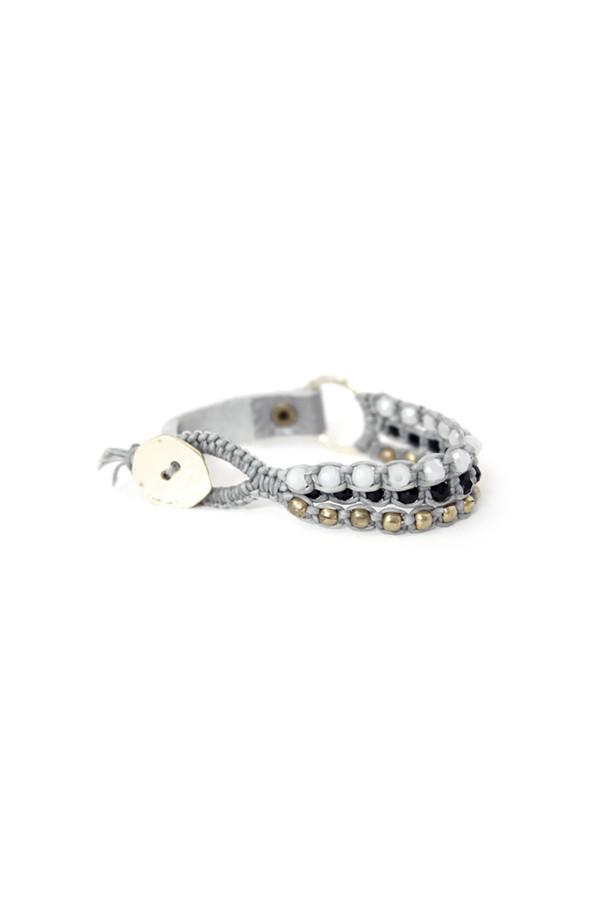 Silver Leather & Crystal Bracelet