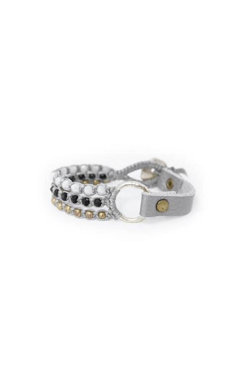 Silver Leather & Crystal Bracelet - Subtle Luxury