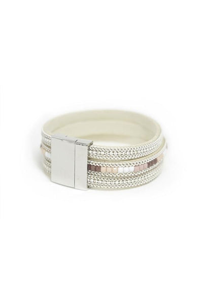 Leather Cuff Bracelet in Ivory