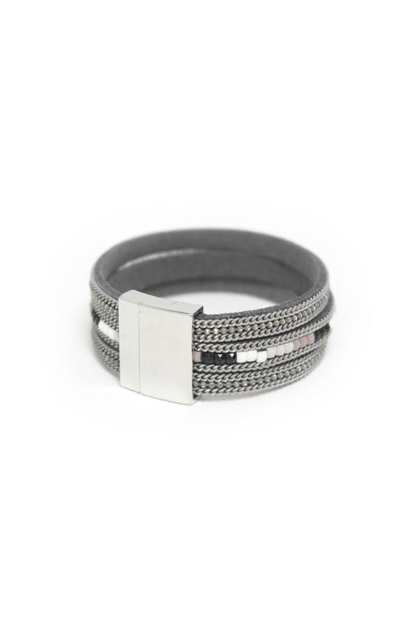 Leather Cuff Bracelet in Slate