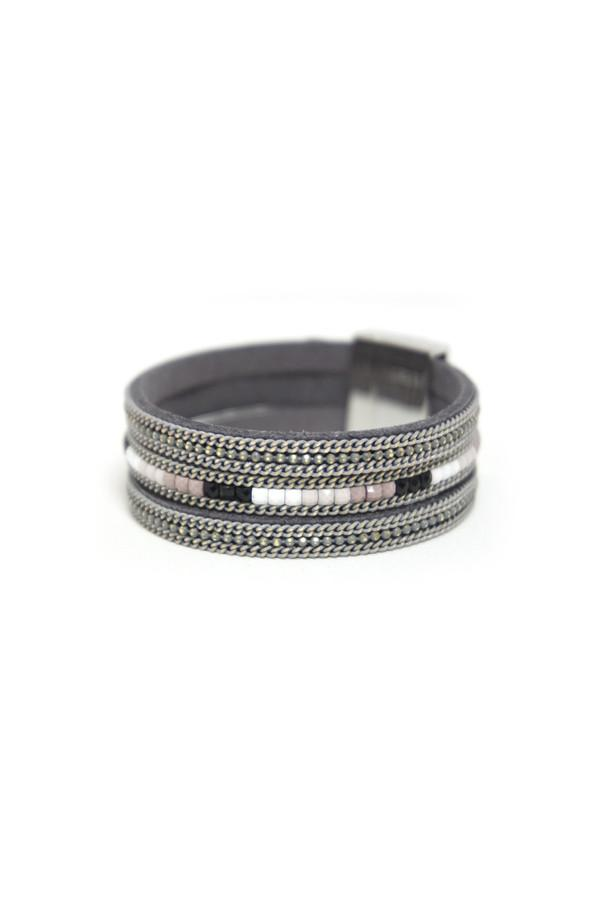 Leather Cuff Bracelet in Slate - Subtle Luxury