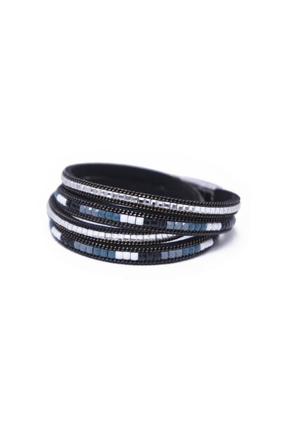 Leather Twist Wrap Bracelet in Black