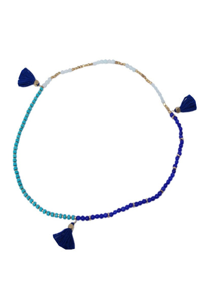 Triple Tassel Wrap Bracelet / Necklace in Indigo