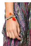 Triple Tassel Wrap Bracelet / Necklace in Tangerine - Subtle Luxury