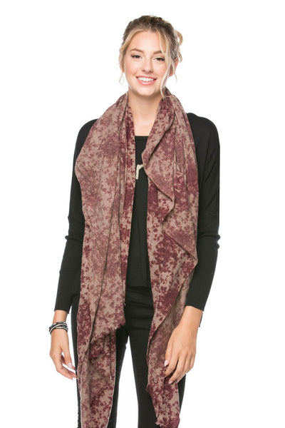 Gemma Printed Scarf in Maroon - Subtle Luxury