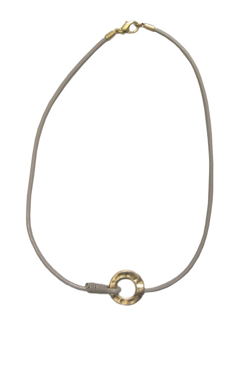 Circle Necklace on Leather Cord