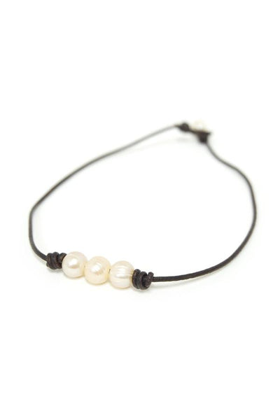 Triple Pearl Necklace on Leather Cord - Subtle Luxury