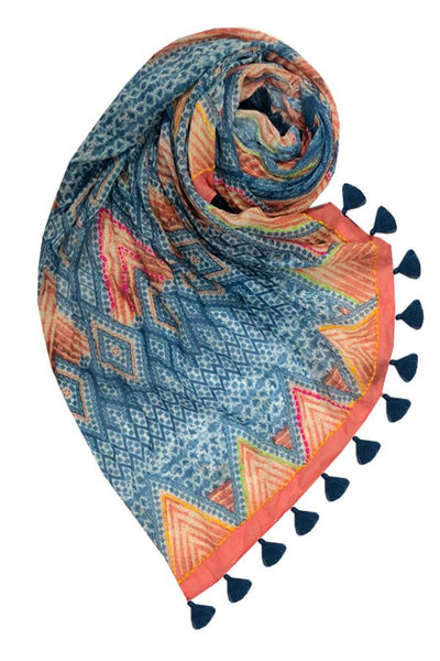 Water & Fire Scarf in Marine - Subtle Luxury