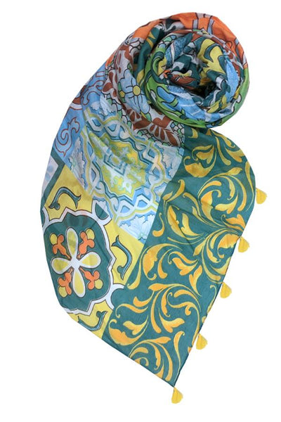 Sunrise Mosiac Scarf in Green - Subtle Luxury