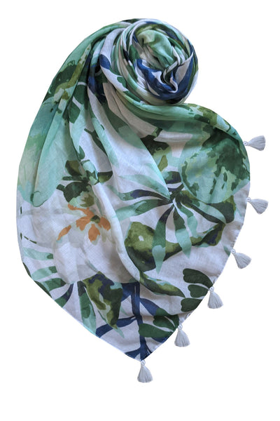 Gentle Garden Scarf in Sea Green