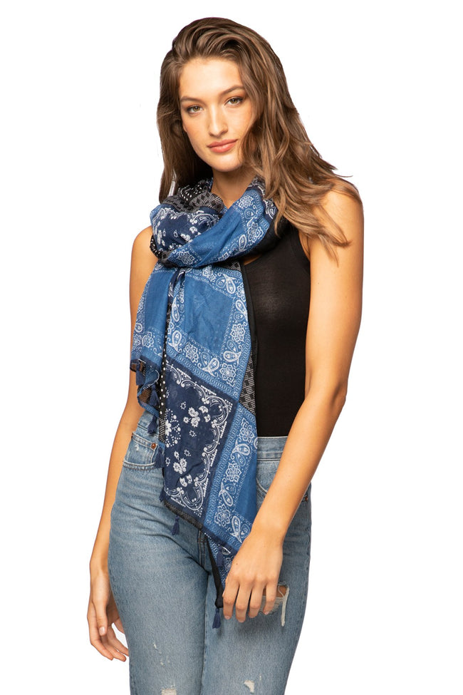 Bandana Blues Scarf in Navy - Subtle Luxury