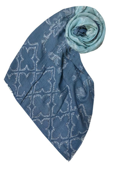 Woven Shine Scarf in Blue - Subtle Luxury