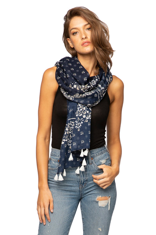 C'est La Vie Scarf in Navy - Subtle Luxury