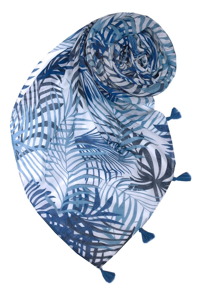 Blue Fan Scarf in Blue