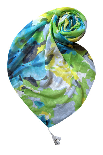 Luminous Blooms Scarf in Lime