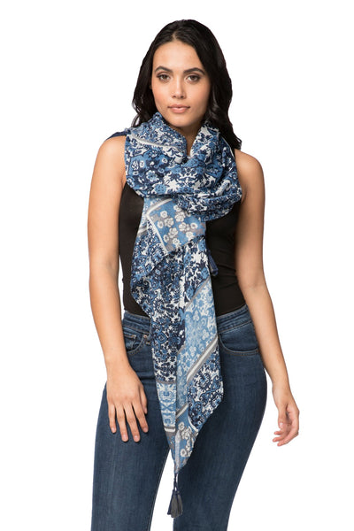 Into the Dawn Scarf in Navy - Spun by Subtle Luxury