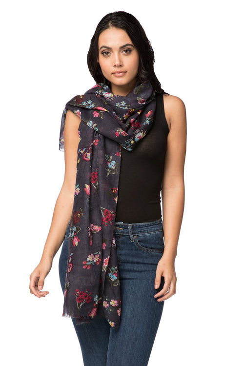 Night Flowers Scarf in Navy - Subtle Luxury