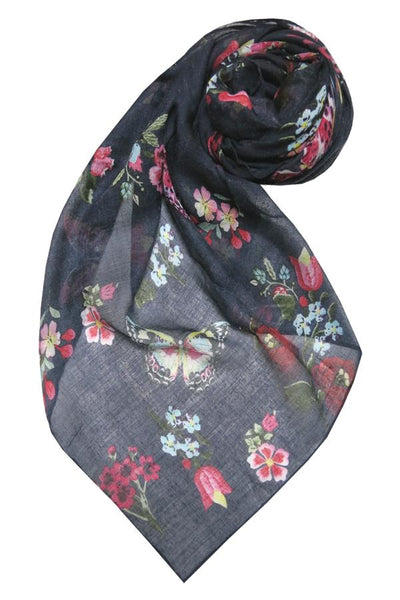 Night Flowers Scarf in Navy