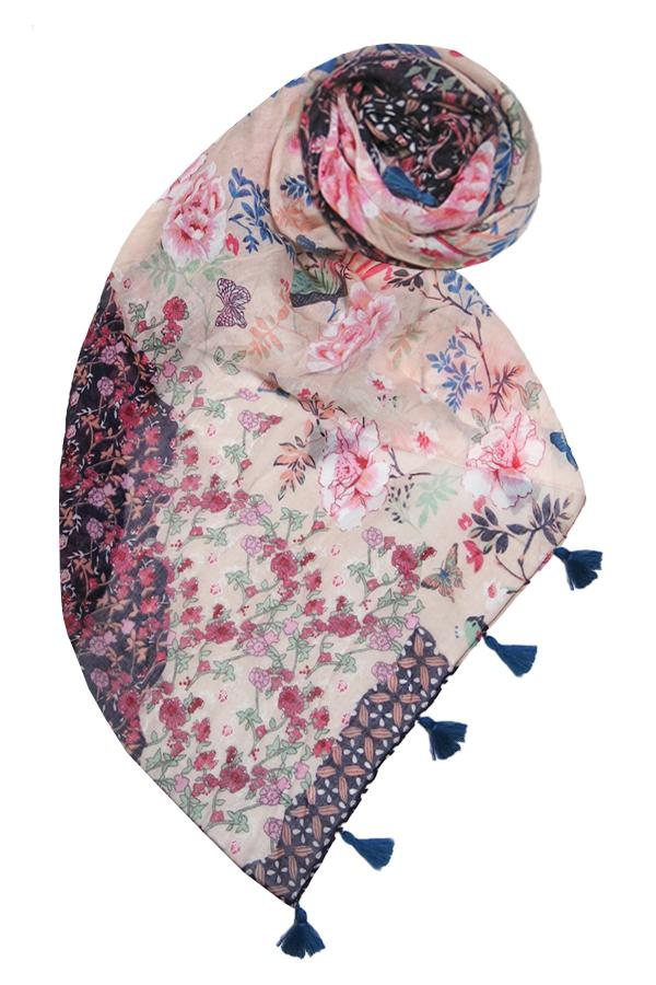 Selena Floral Scarf in Multi - Subtle Luxury