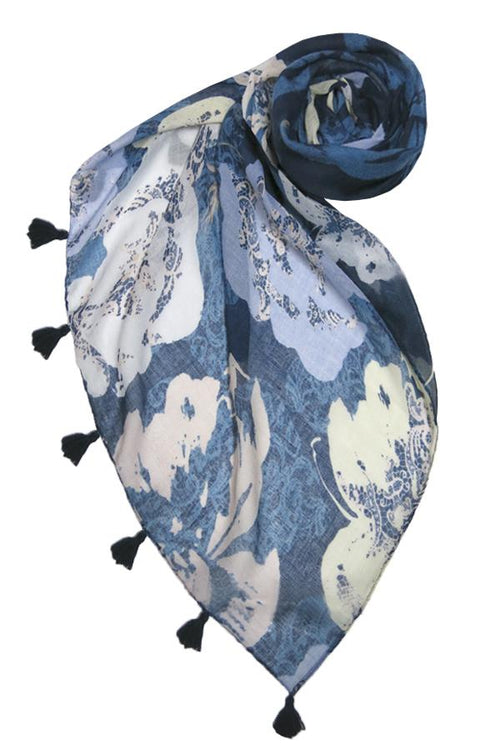 Evening Primrose Scarf in Navy - Subtle Luxury