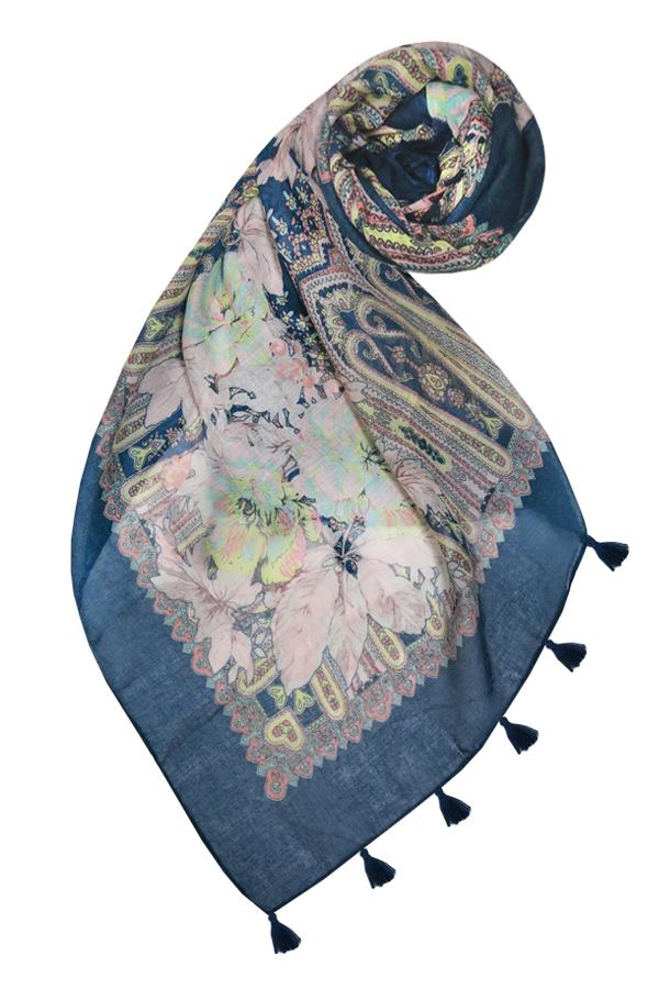 Rio Blooms Scarf in Navy - Subtle Luxury