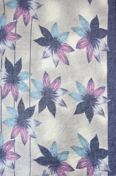 Hibiscus Blooms Printed Scarf in Purple