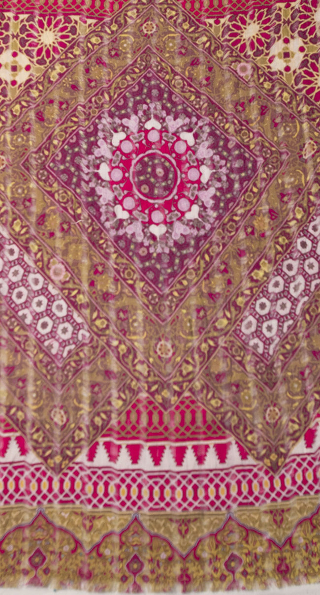 Morrocan Shaker Digital Print Scarf in Berry - Subtle Luxury