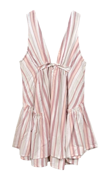 Chloe Ruffle Dress in Tie Dye and Stripe