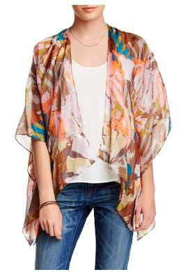 100% Silk Kimono Shrug Jacket in Different Strokes - Pink - Subtle Luxury