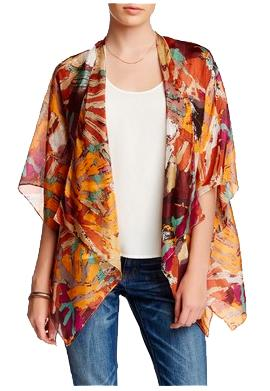 Silk Kimono Shrug Jacket in Different Strokes - Orange