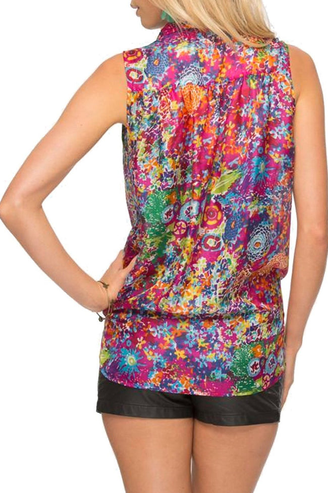 Sleeveless Tie Front Top in Dahlia Burst-Hot Pink - Subtle Luxury