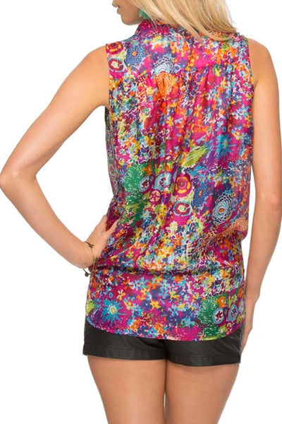 Sleeveless Tie Front Top in Dahlia Burst-Hot Pink