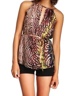 Tie Back Halter Top in Feather Strokes Print by Subtle Luxury