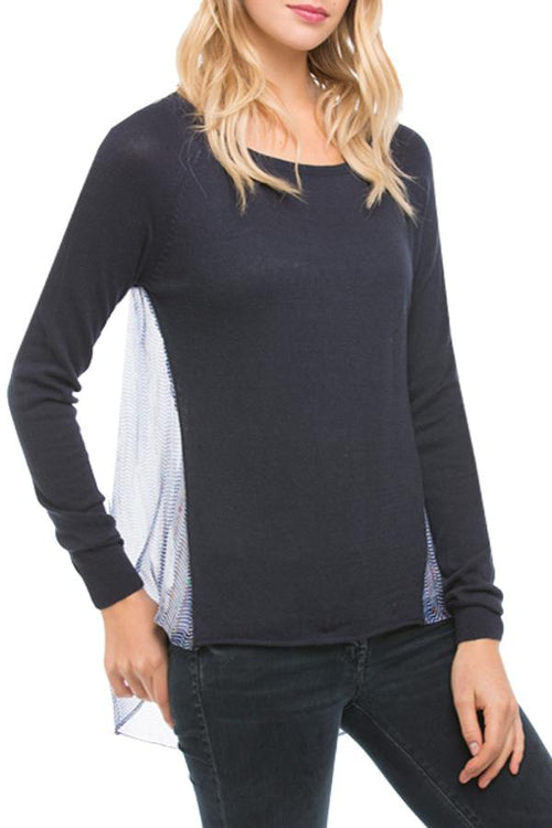 Crew Sweater in Vintage Silk Raglan in Navy - Subtle Luxury