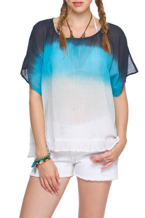 Chelsea Top in Ocean Blue Dip Dye - Subtle Luxury