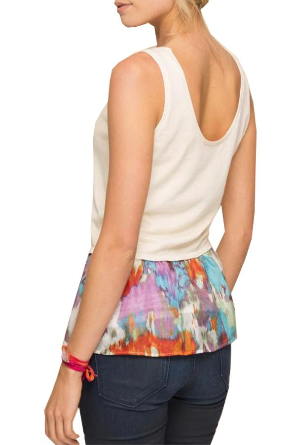 Vintage Silk Flounce Sweater Tank in Painted Rain-Chalk - Subtle Luxury