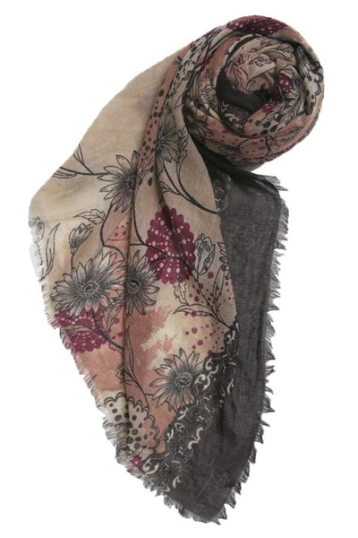 Antique Floral Printed Scarf in Mauve - Subtle Luxury